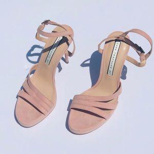 Zara Trafaluc Pink Blush Suede Strappy Heel Sandal